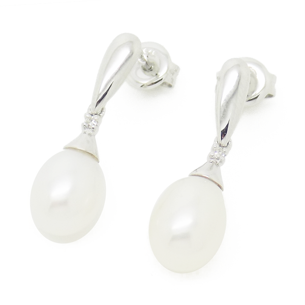 9ct White Gold Teardrop Freshwater Pearl & Diamond Drop Earrings