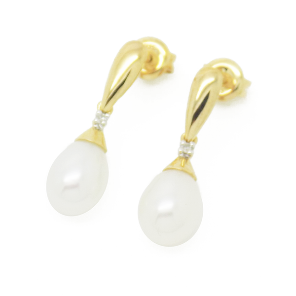 9ct Yellow Gold Teardrop Freshwater Pearl & Diamond Drop Earrings