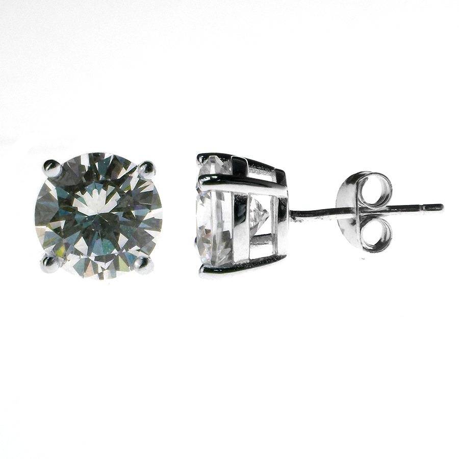 Sterling Silver 8mm Round Claw Set Cubic Zirconia Stud Earrings