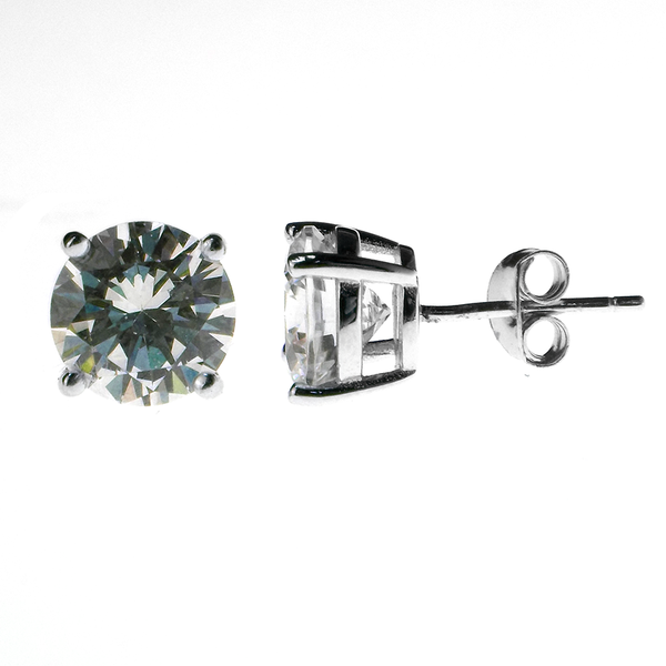 f958b93bc Sterling Silver 8mm Round Claw Set Cubic Zirconia Stud Earrings