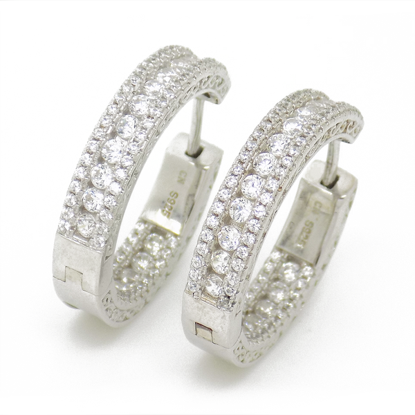 Sterling Silver & Cubic Zirconia Hoop Earrings