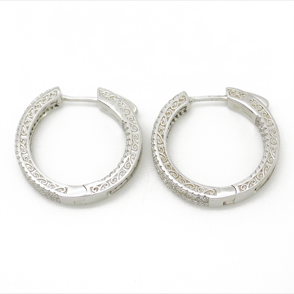 Sterling Silver & Cubic Zirconia Hoop Earrings Side Detail