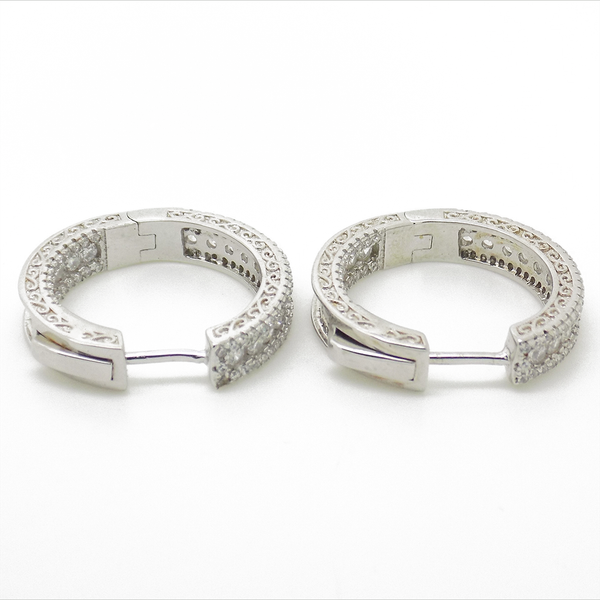 Sterling Silver & Cubic Zirconia Hoop Earrings Reverse