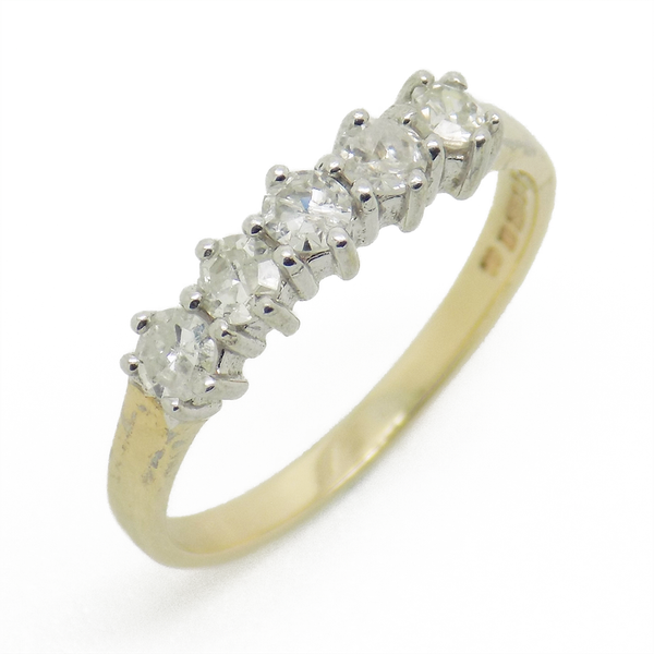 Pre-Loved 9ct Yellow Gold Five Stone Eternity Ring