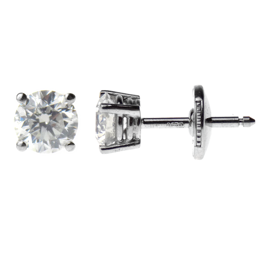 18ct White Gold Brilliant Cut 1.18ct Solitaire Diamond Stud Earrings