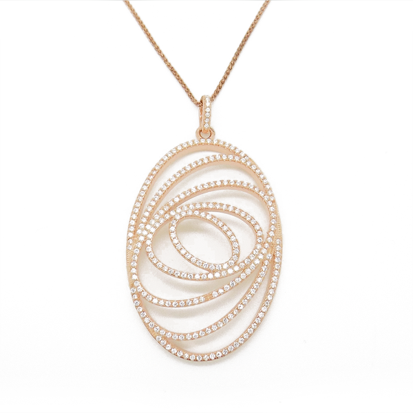Sterling Silver, Rose Gold Plated Large Five Open Oval Pendant & Chain