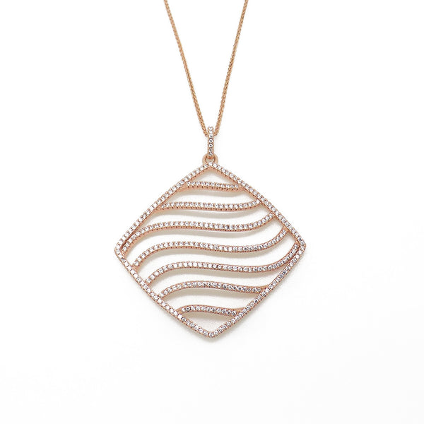 Sterling Silver, Rose Gold Plate Large Square Wave CZ Pendant & Chain