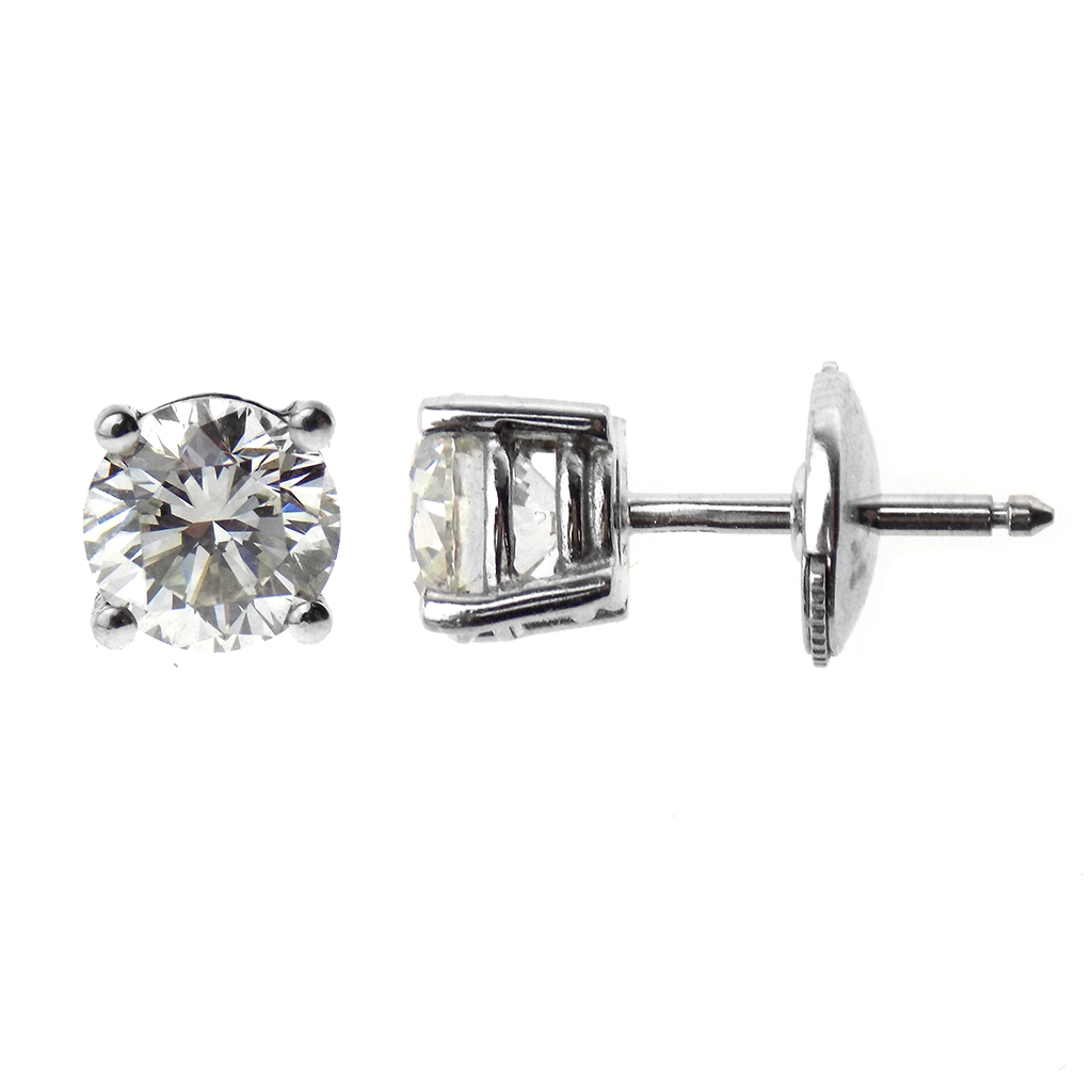 18ct White Gold Brilliant Cut 2.06ct Solitaire Diamond Stud Earrings - GIA Certified