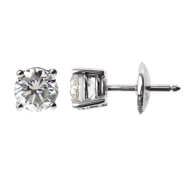 39651efb7 18ct White Gold Brilliant Cut 2.06ct Solitaire Diamond Stud Earrings - GIA  Certified