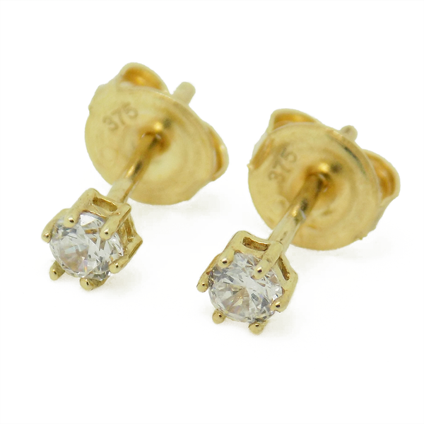 9ct Yellow Gold 3mm Claw Set CZ Stud Earrings
