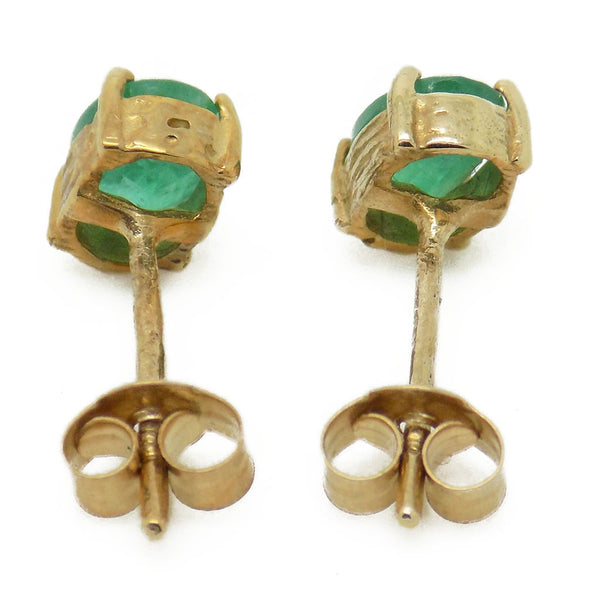 9ct Yellow Gold Emerald Stud Earrings Fastening Details