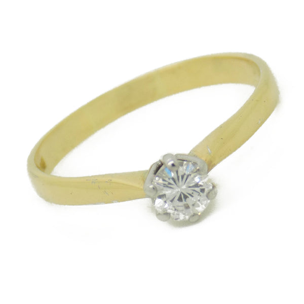 Pre-Loved 18ct Yellow Gold Single Diamond Ring Stone Detail
