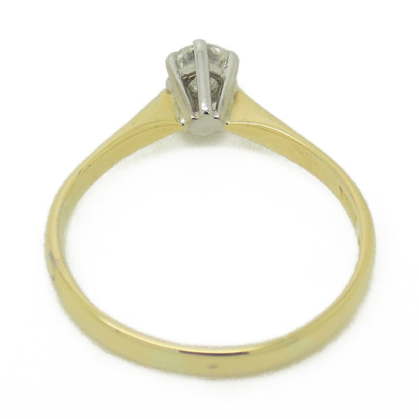 Pre-Loved 18ct Yellow Gold Single Diamond Ring Head Detail