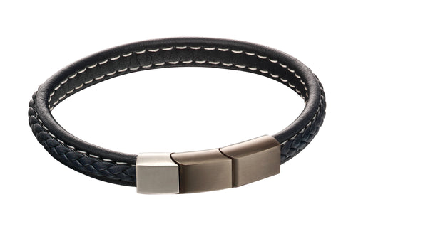'Fred Bennett' Stainless Steel Plait Mixed Brushed Finish Navy Leather Bracelet