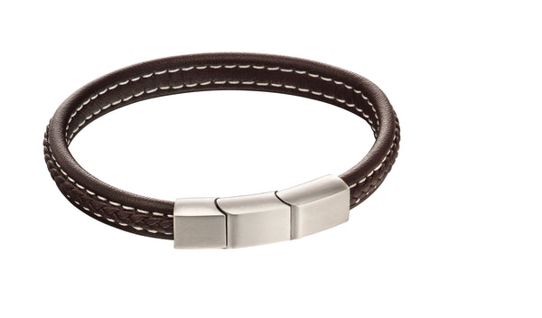 'Fred Bennett' Stainless Steel Plait Mixed Brushed Finish Brown Leather Bracelet