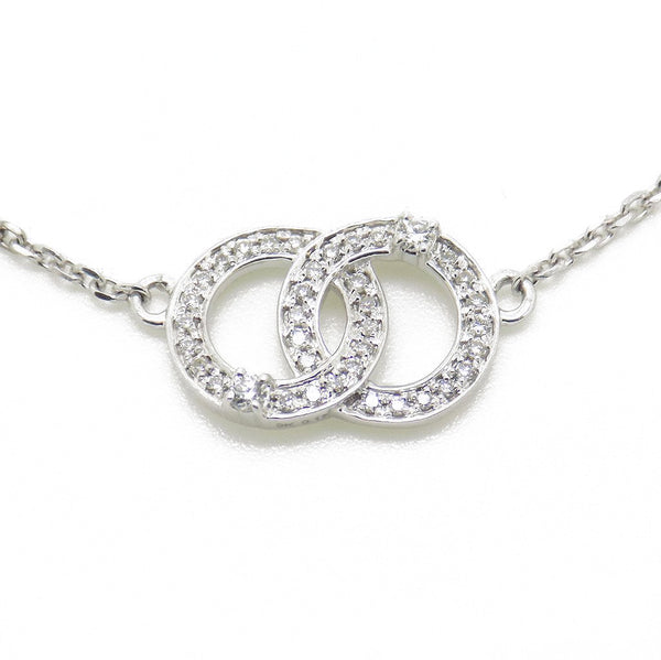 9ct White Gold & Diamond Double Doughnut Chanel Style Necklace Detail