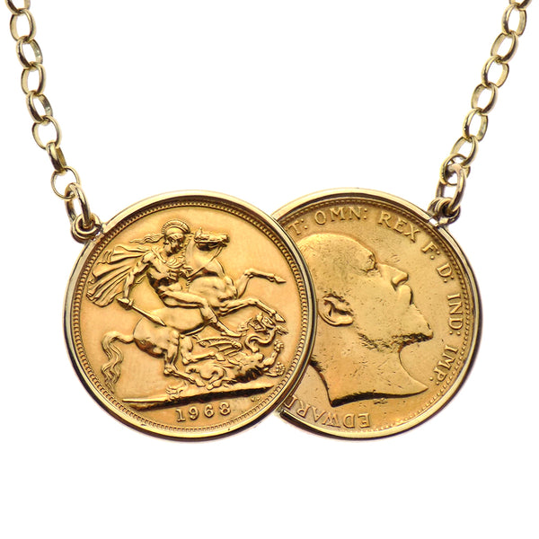 Pre-Loved 22ct Double Sovereign 'Celebrity' Pendant with 9ct Yellow Gold Belcher Chain