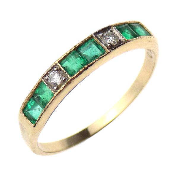 9ct Yellow Gold Square Emerald & Round Diamond Eternity Ring