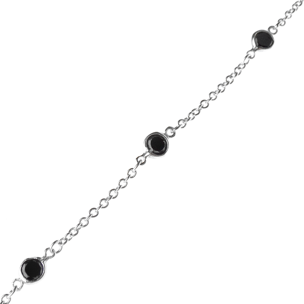 "Sterling Silver Twelve Black Onyx 18"" Chain Necklace"
