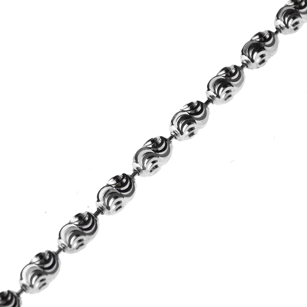 Sterling Silver Oval Diamond-Cut Bead Link Chain 24""