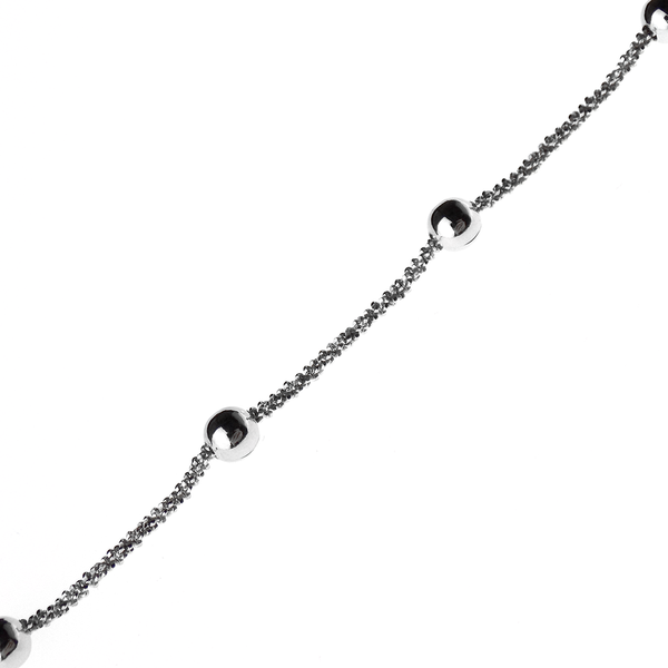"Sterling Silver Rhodium Plated Ball 22"" Chain"