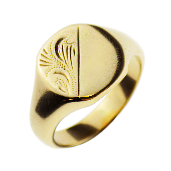 Pre-Loved Gents 9ct Yellow Gold Half Engraved Cushion Shape Signet Ring