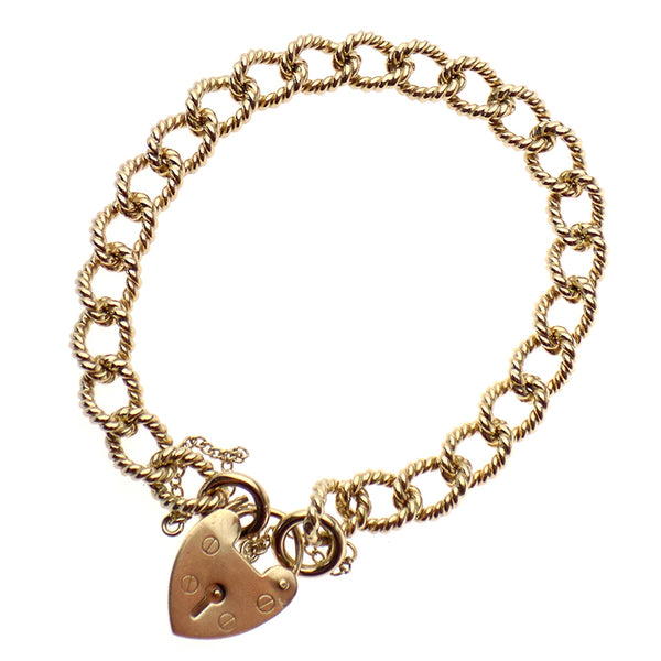 Pre-Loved 9ct Yellow Gold Rope Style Curb Link Bracelet with Heart Padlock & Safety Chain