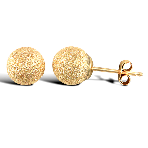 9ct Yellow Gold 6mm Frosted Ball Stud Earrings