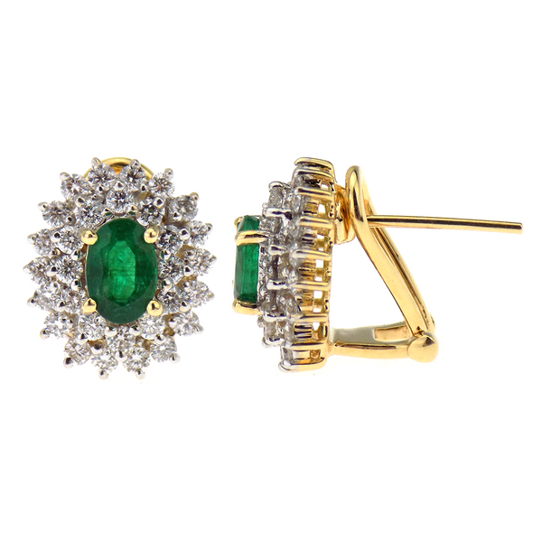 Pre-Loved 14ct Yellow Gold Oval Emerald Cut & Diamond Cluster Stud Earrings