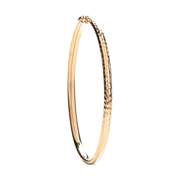 9ct Yellow Gold Diamond Cut Fancy Bangle