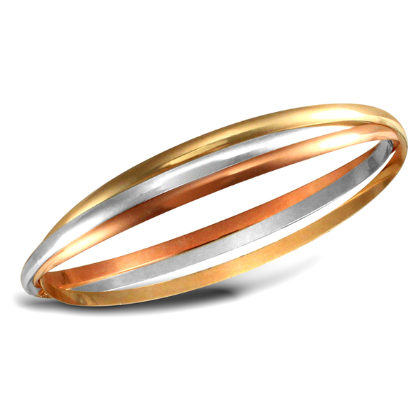 9ct White, Rose & Yellow Gold Russian Wedding Bangle