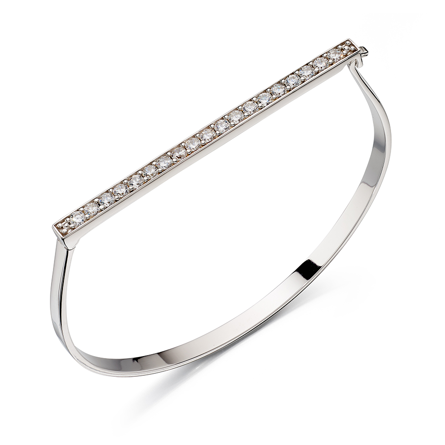 'Fiorelli' Sterling Silver Clear Cubic Zirconia Pave Hinged Bangle