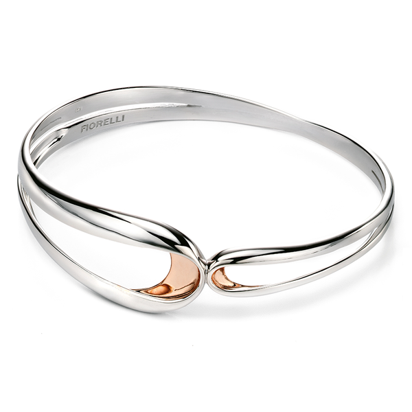 'Fiorelli' Sterling Silver with Rose Gold Plated Detail Folded Bangle