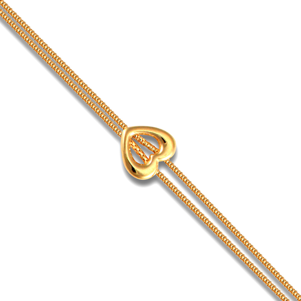 9ct Yellow Gold Two Row Spiga Link & Open Heart Bracelet