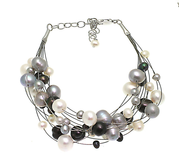 'Lido' Sterling Silver Twelve Strand Mixed Grey & Black Freshwater Pearl Bracelet