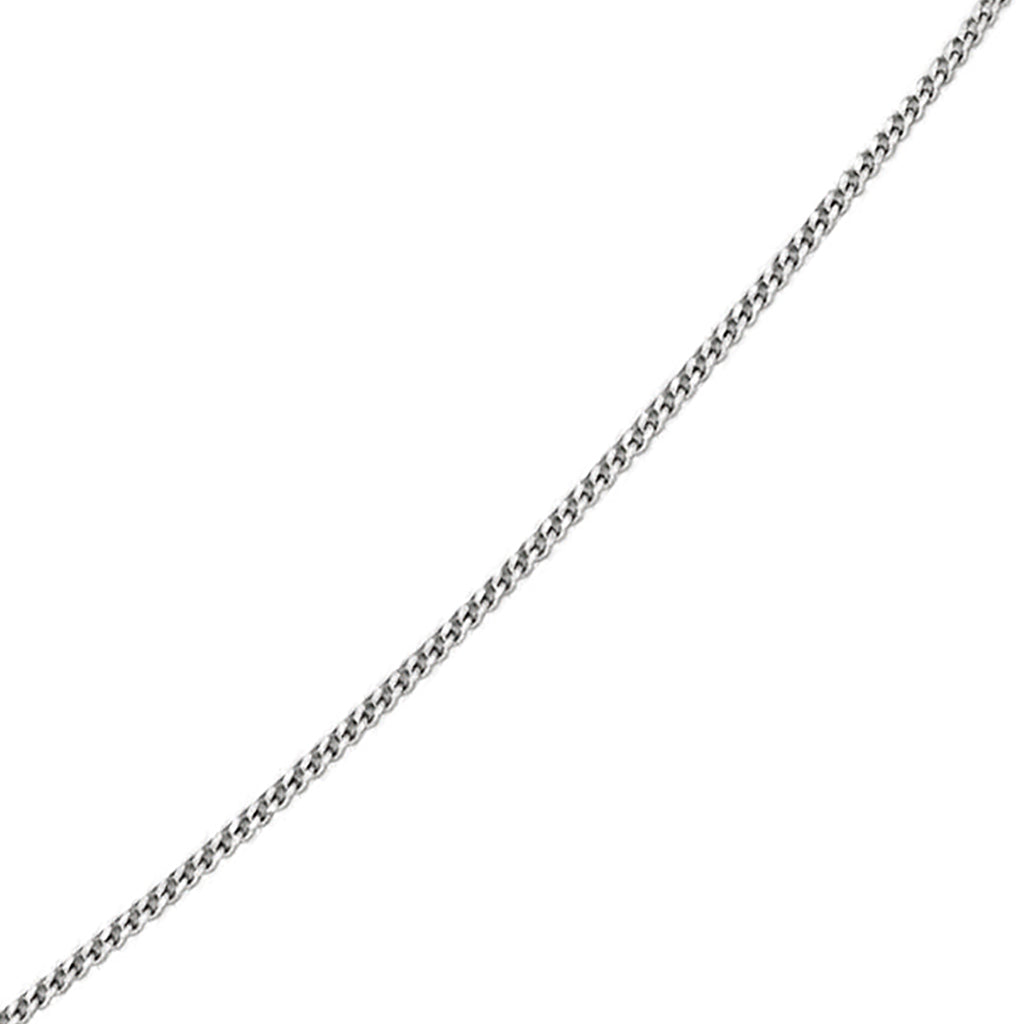 "'Elements' 9ct White Gold Diamond Cut 16"" Curb Chain with Extension"