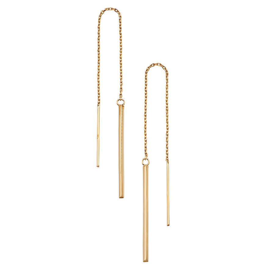 'Elements' 9ct Yellow Gold Pull Through Chain Drop Earrings