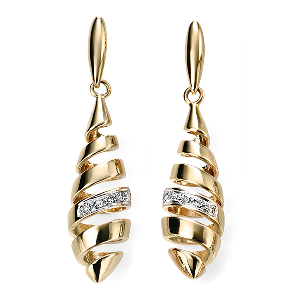 'Elements' 9ct Yellow Gold Diamond Spiral Drop Earrings