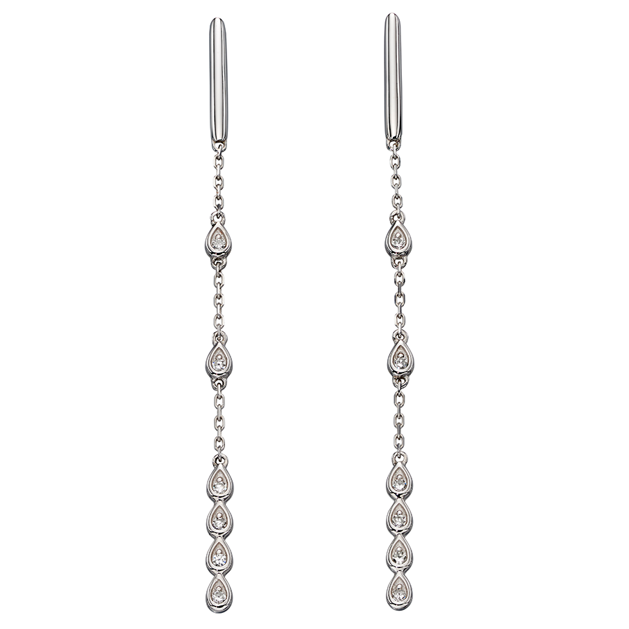 'Elements' 9ct White Gold and Diamond Chain Drop Earrings