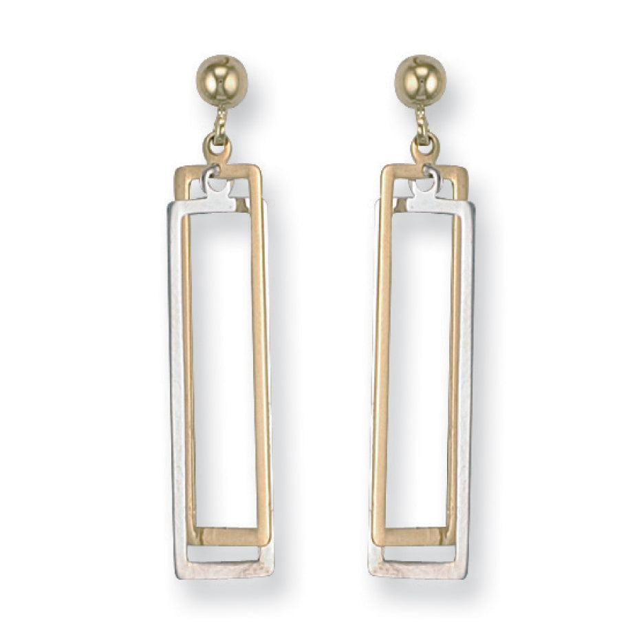 9ct White and Yellow Gold Fancy Drop Earrings