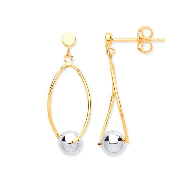 9ct Yellow Gold Thin Wire with White Gold Ball Drop Earrings