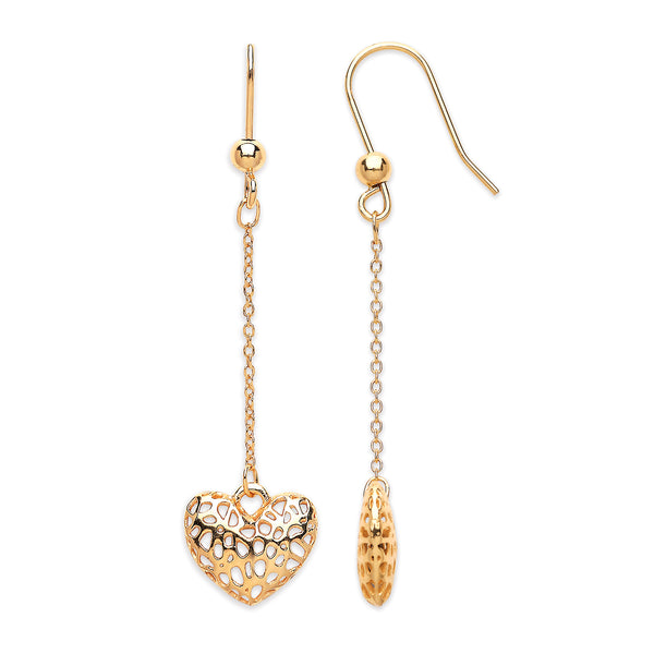 9ct Yellow Gold Filigree Heart Drop Earrings