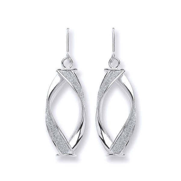 9ct White Gold Twist Moondust Drop Earrings