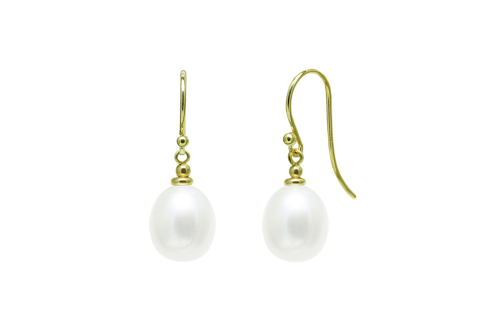 9ct Yellow Gold 9mm White Teardrop Freshwater Pearl Hook Drop Earrings