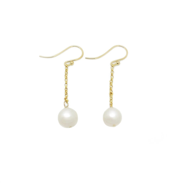 9ct Yellow Gold 9-9.5mm Freshwater Pearl Drop Hook Earrings
