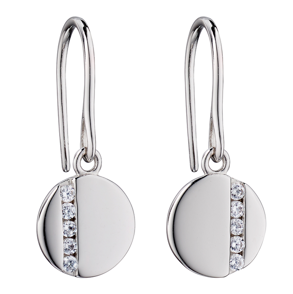 'Fiorelli' Sterling Silver Clear Cubic Zirconia Disc Drop Earrings