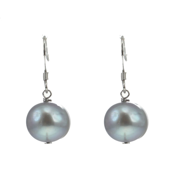 'Lido' Sterling Silver 12-14mm Grey Round Freshwater Pearl Hook Earrings