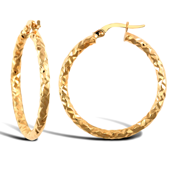 9ct Yellow Gold Large Hammered Round Hoop Earrings