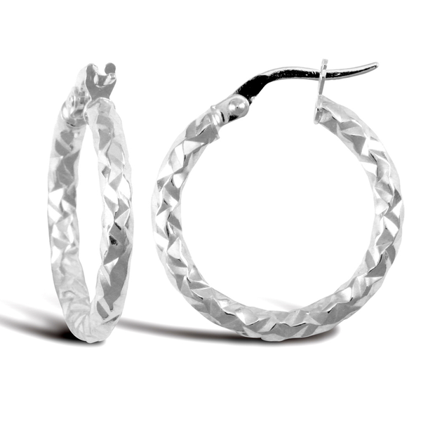 9ct White Gold Medium Hammered Hoop Earrings
