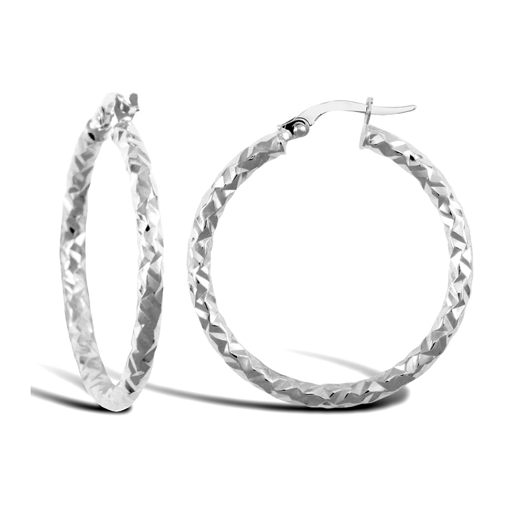 9ct White Gold Large Hammered Hoop Earrings